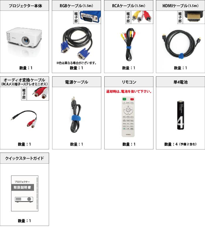 BENQ MH550 付属品の一覧
