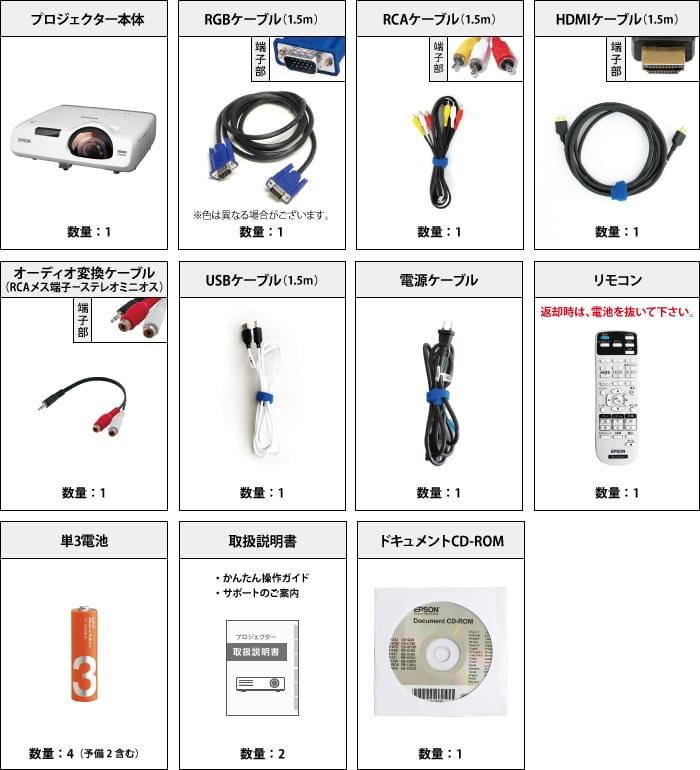 EPSON EB-535W (超短焦点モデル) 付属品の一覧