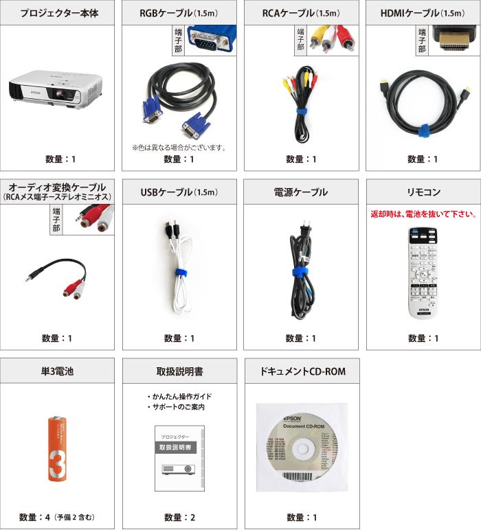 EPSON EB-U32 付属品の一覧