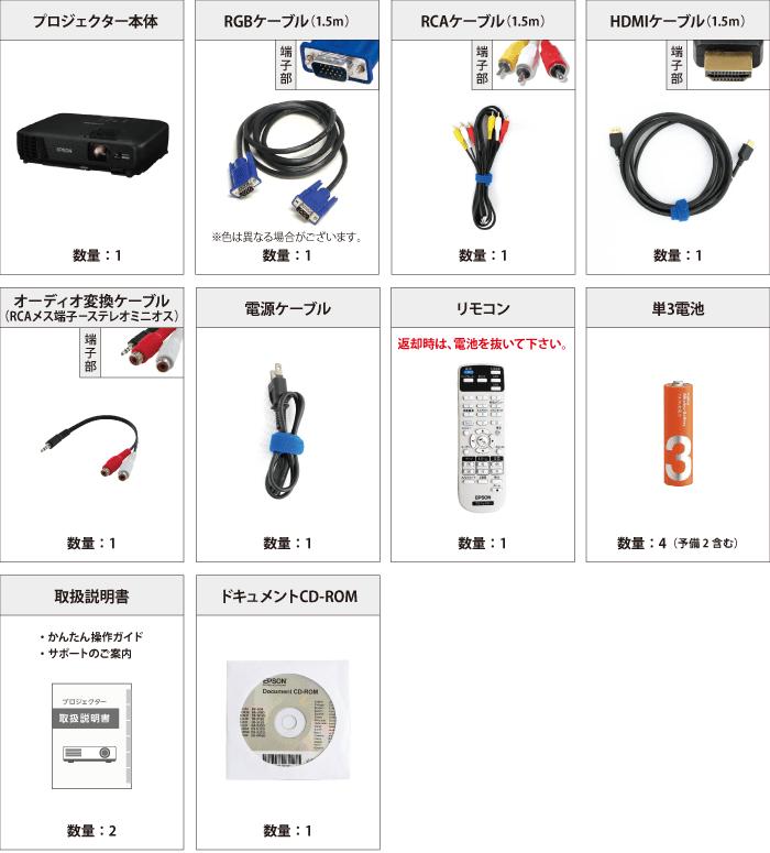 EPSON EB-W420 付属品の一覧