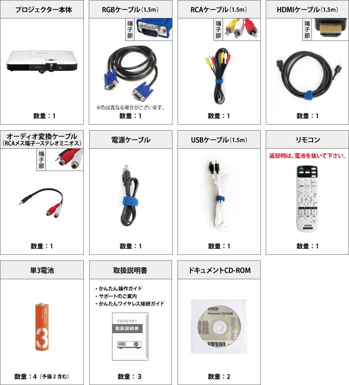 EPSON EB-1780W 付属品の一覧