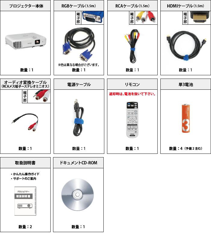 EPSON EB-W05 付属品の一覧