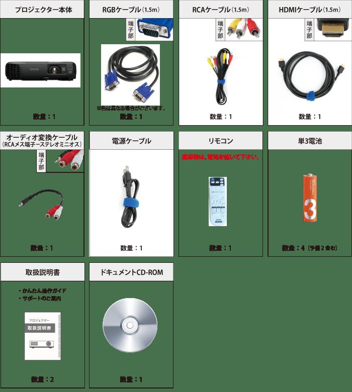 EPSON EH-TW410 付属品の一覧
