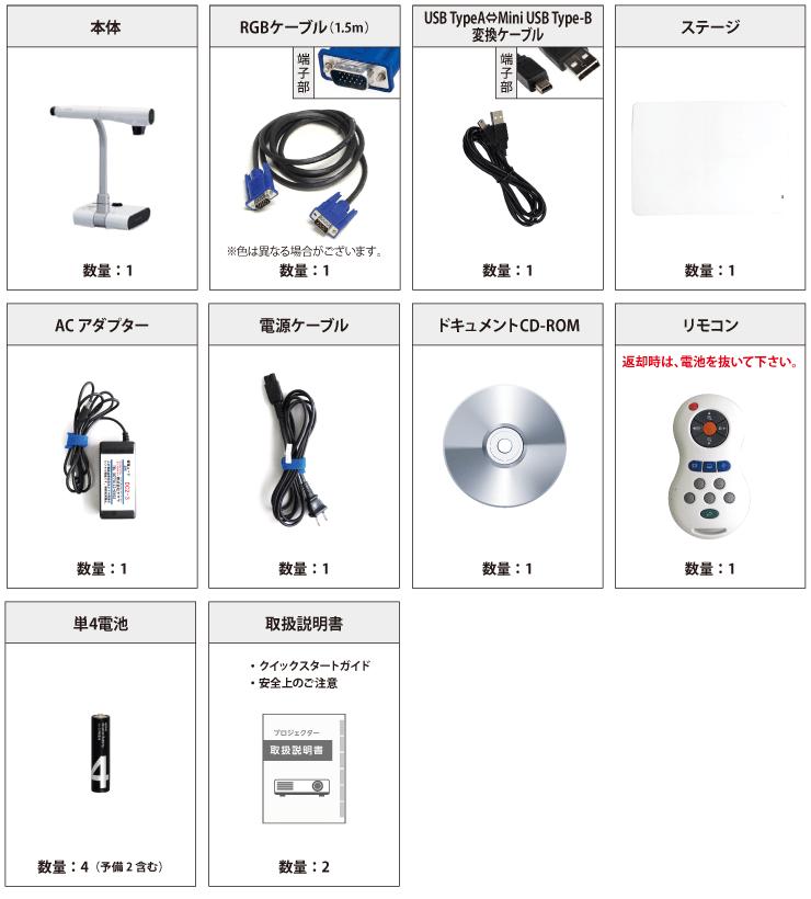 ELMO L-12 付属品の一覧
