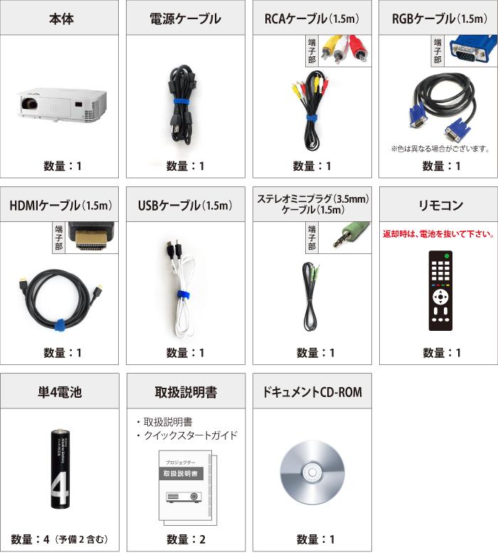 NEC NP-M402HJD フルHD対応 付属品の一覧