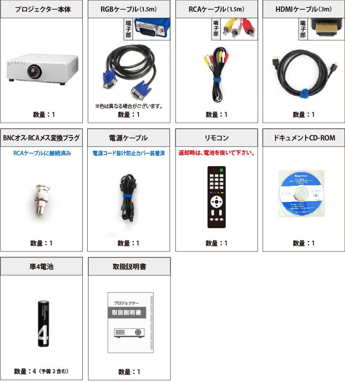 Panasonic PT-DW750J 付属品の一覧