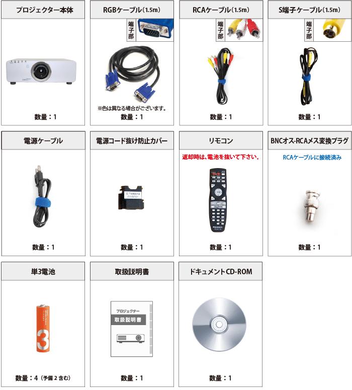 Panasonic PT-DX810S 付属品の一覧