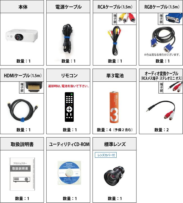 Panasonic PT-EW650J 付属品の一覧