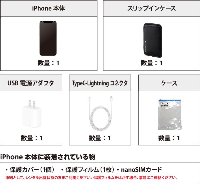 Apple iPhone12 64GB  ホワイト(データ通信専用 ※音声通話不可) 付属品の一覧