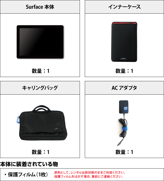 Microsoft Surface Go (8GBモデル) 付属品の一覧
