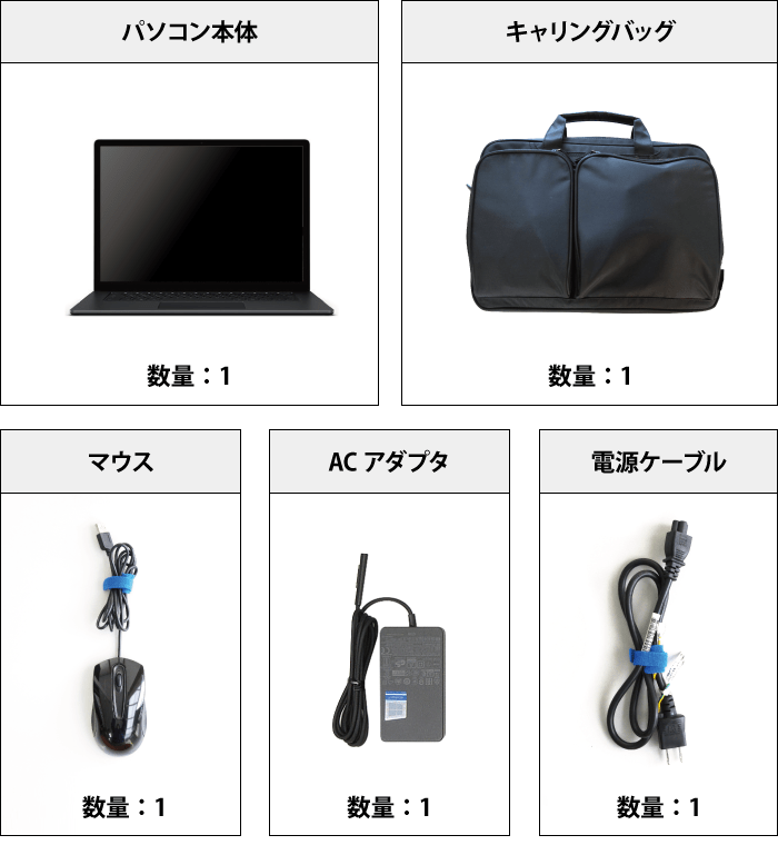 Microsoft Surface Laptop3 付属品の一覧