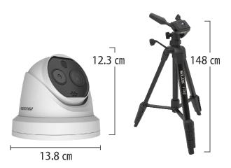 HIKVISION サーマルAI顔認識ドームカメラ (DS-PT6+ノートPCセット) サイズ